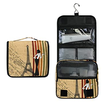 6aa1b756d781 Amazon.com : AUUXVA Hanging Toiletry Bag Vintage Paris Eiffel Tower ...