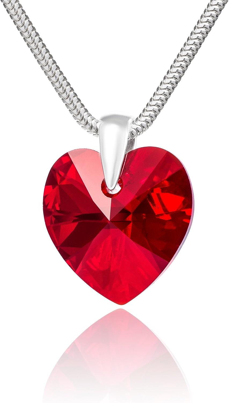 LillyMarie Cadena para Mujer Plata de Ley 925, con Elementos Swarovski Rojo, Colgante de corazón, 45 cm, con Caja de Joyas