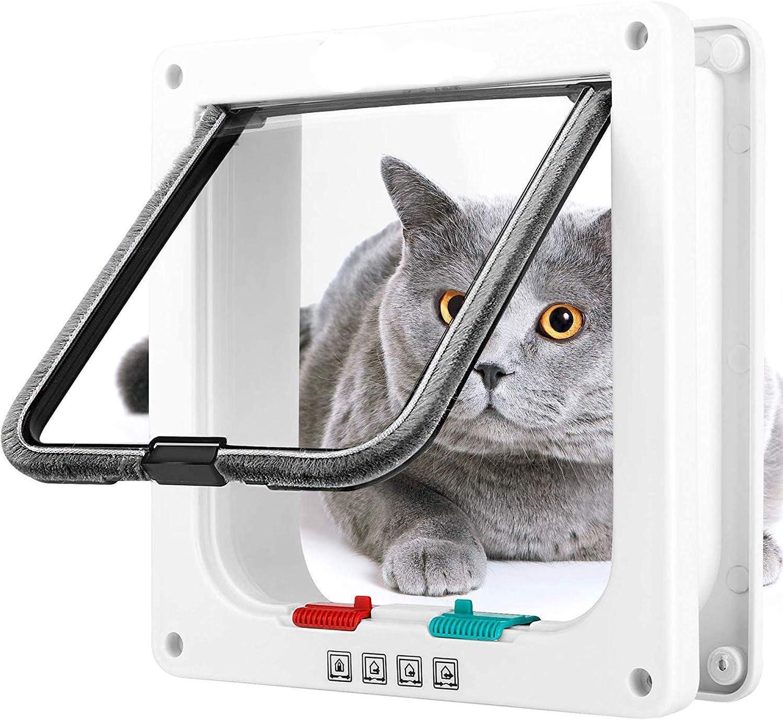 Groway Cat Falp Manual 4 Vías De Bloqueo Clásico Puerta De Mascota De Fácil Instalación, Ajuste Universal, Durable, Conveniente, Puerta De Mascota Para Gatos