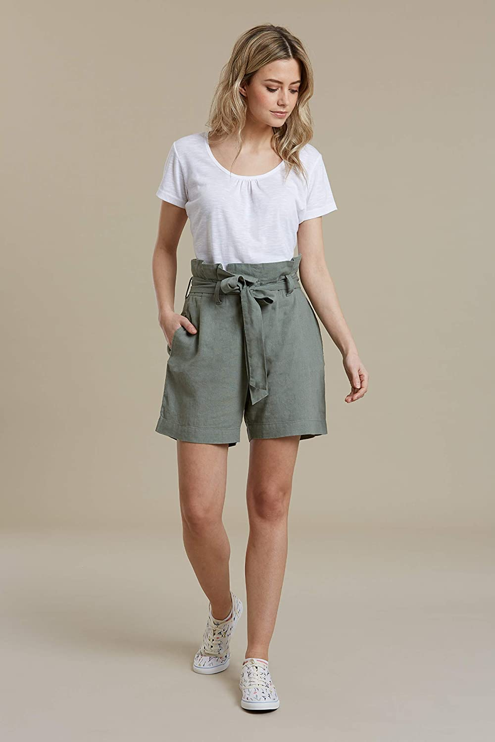 Best for Outdoors Mountain Warehouse Womens Linen Paperbag Shorts Waistband Parks Easy Care Ladies Summer Trousers Picnic