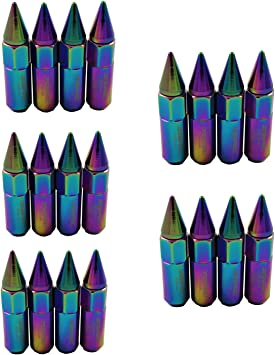 JDMSPEED New Neo Chrome 20PCS M12X1.5 Cap Spiked Extended Tuner 60mm Aluminum Wheels Rims Lug Nuts
