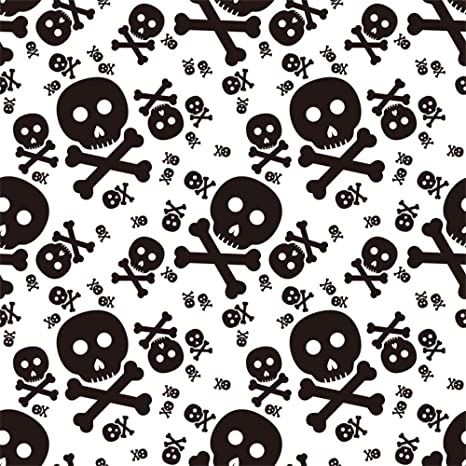 AOFOTO 7x7ft Skull and Crossbones Backdrop Halloween Themed Photography Background Holiday Party Decoration Cartoon Skeleton Pattern