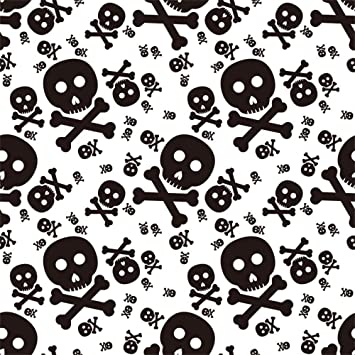 AOFOTO 4x4ft Skull and Crossbones Backdrop Halloween Themed Photography Background Holiday Party Decoration Cartoon Skeleton Pattern