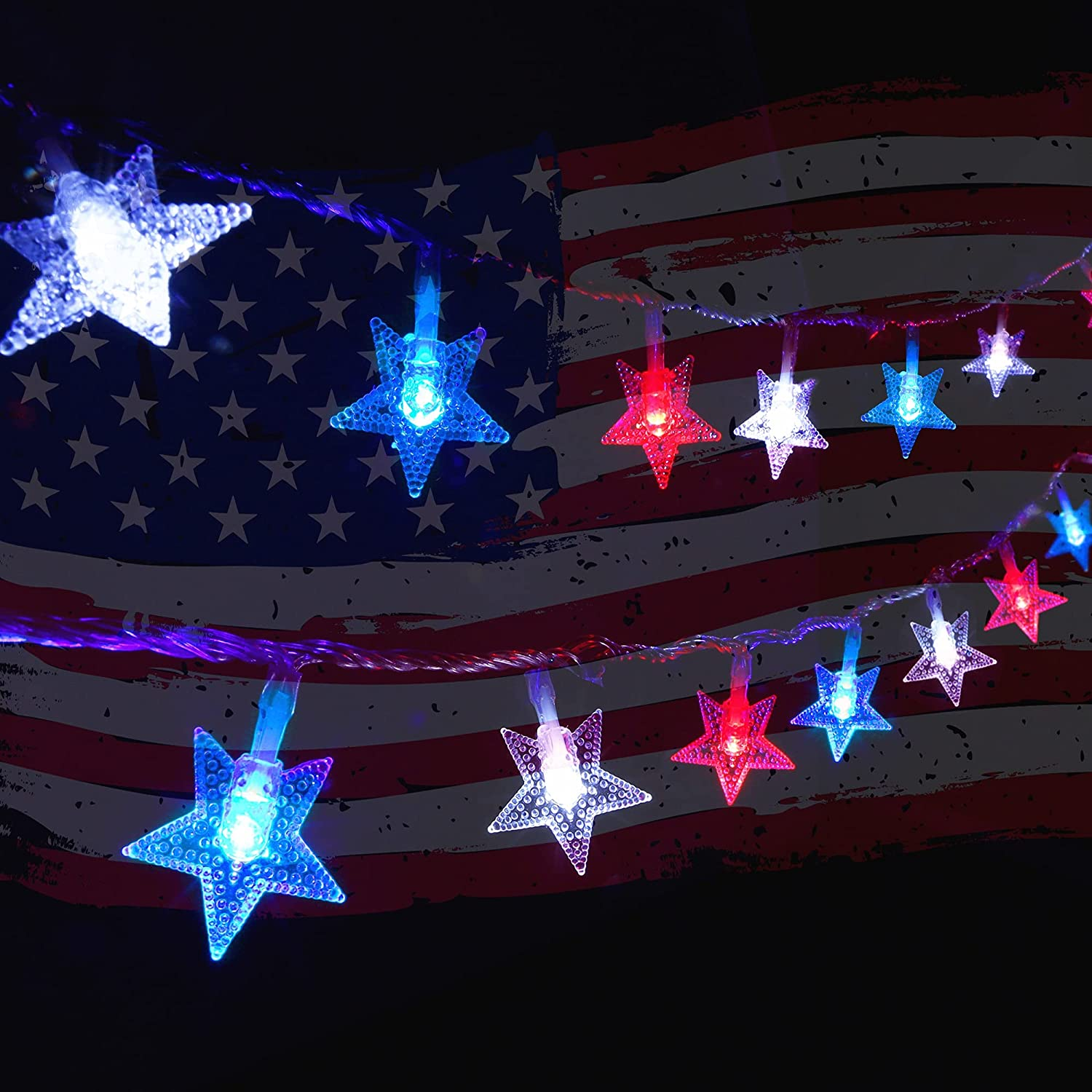 Twinkle Star 100 LED 49 FT Star String Lights, July 4th Plug in Patriotic Fairy String Light Waterproof, Extendable for Indoor Outdoor Independence Day Party Garden Decoration, Red & Blue & White
