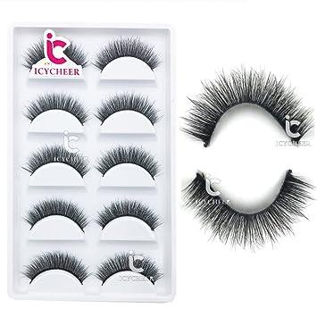 204592334d6 Amazon.com : ICYCHEER 5 Pairs Handmade 3D 100% Mink Natural Thick False  Fake Eyelashes Eye Lashes Makeup Extension Luxurious Wispy Long Cross  Eyelash : ...