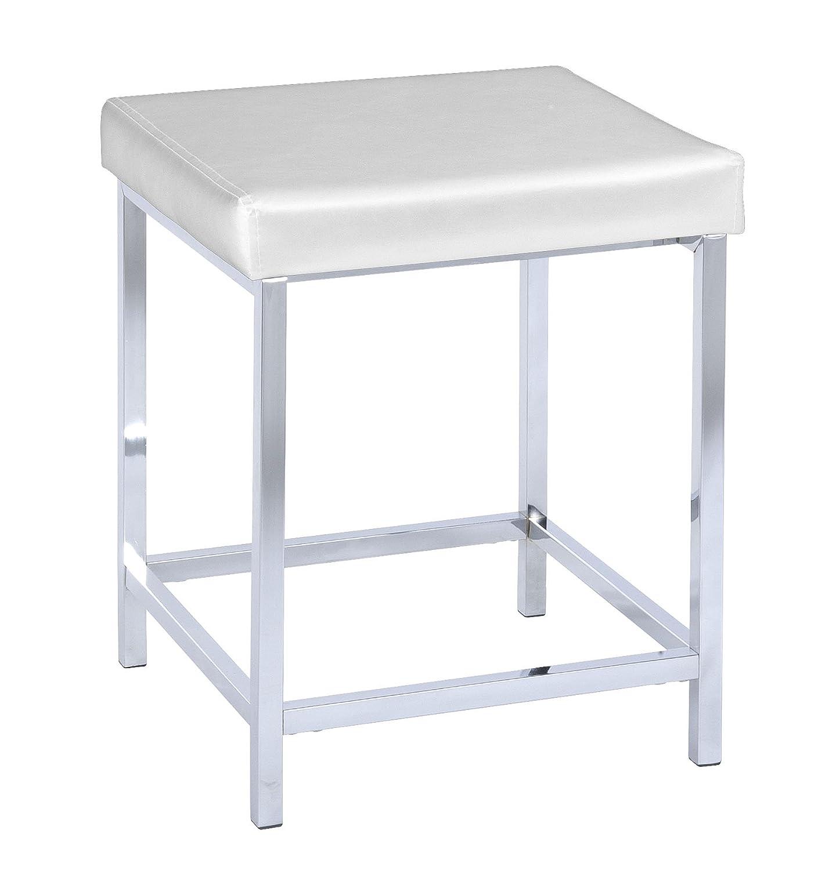 """WENKO """"Deluxe"""" Square Bathroom Stool White Amazon Kitchen"""