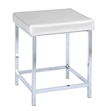 Amazon.de: WENKO 19943100 Hocker Deluxe Square White - Badhocker ... | {Badhocker kunststoff 39}