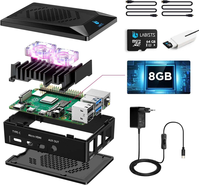 LABISTS Raspberry Pi 4 8Go, Raspberry Pi 4 Modèle B 8 Go Kit avec 64 Go Carte Micro SD Classe...