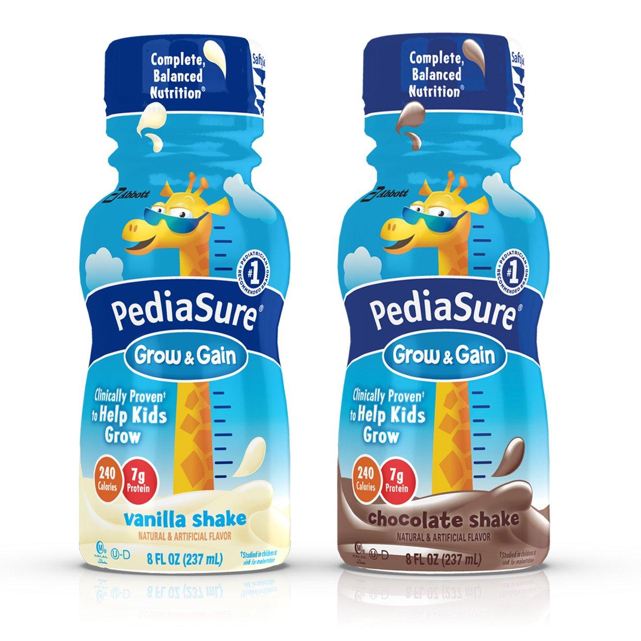 PediaSure Grow & Gain Nutrition Shake Variety Pack Ready-to-Drink 8 fl oz Bottles (Pack of 24) by Pediasure Base