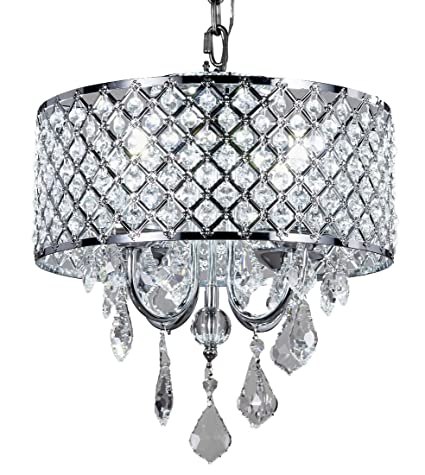 Top Lighting 4-Light Chrome Round Metal Shade Crystal Chandelier ...
