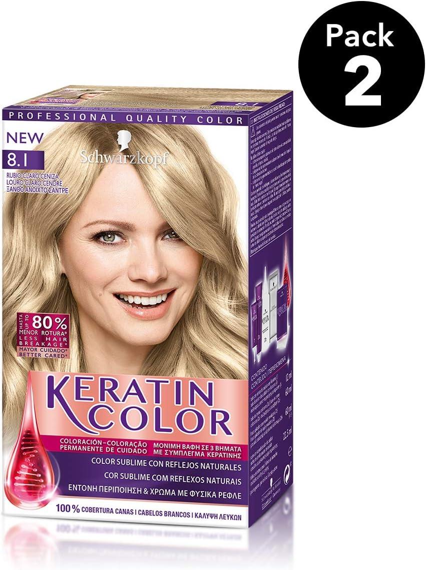 Keratin Color de Schwarzkopf - Tono 8.1 Rubio Claro ceniza - 2 uds - Coloración permanente