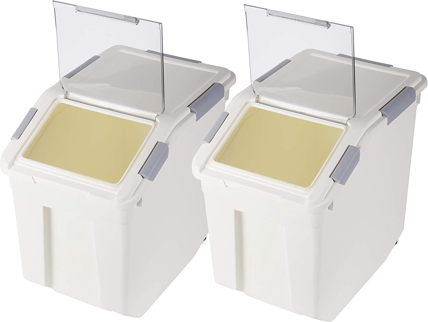 Flour Storage Container 25 lb with Wheels Seal Locking Lid PP (Pack-2)