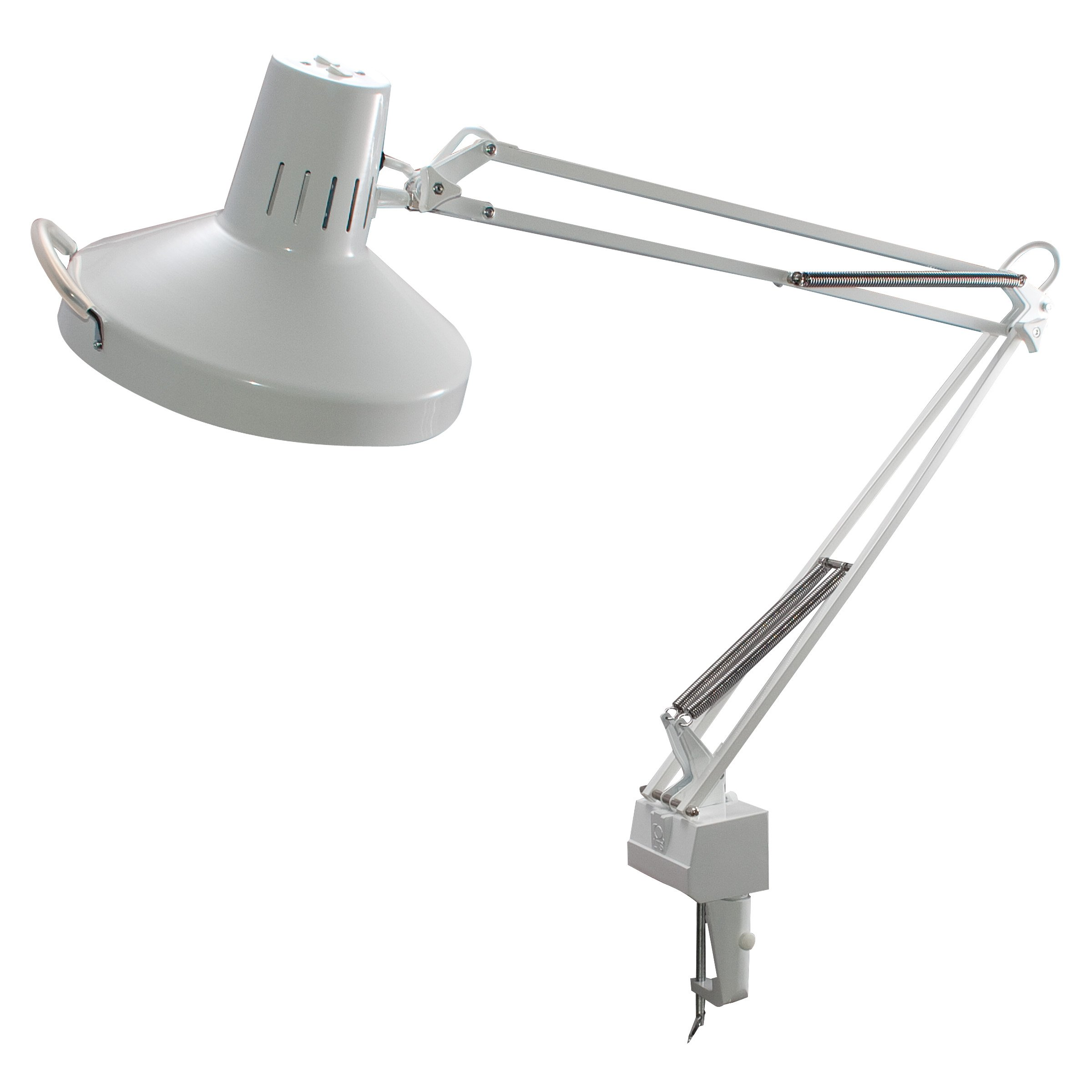 Ledu L445WT Professional fluorescent/incandescent swing arm clamp-on lamp, 40 reach, white by Ledu
