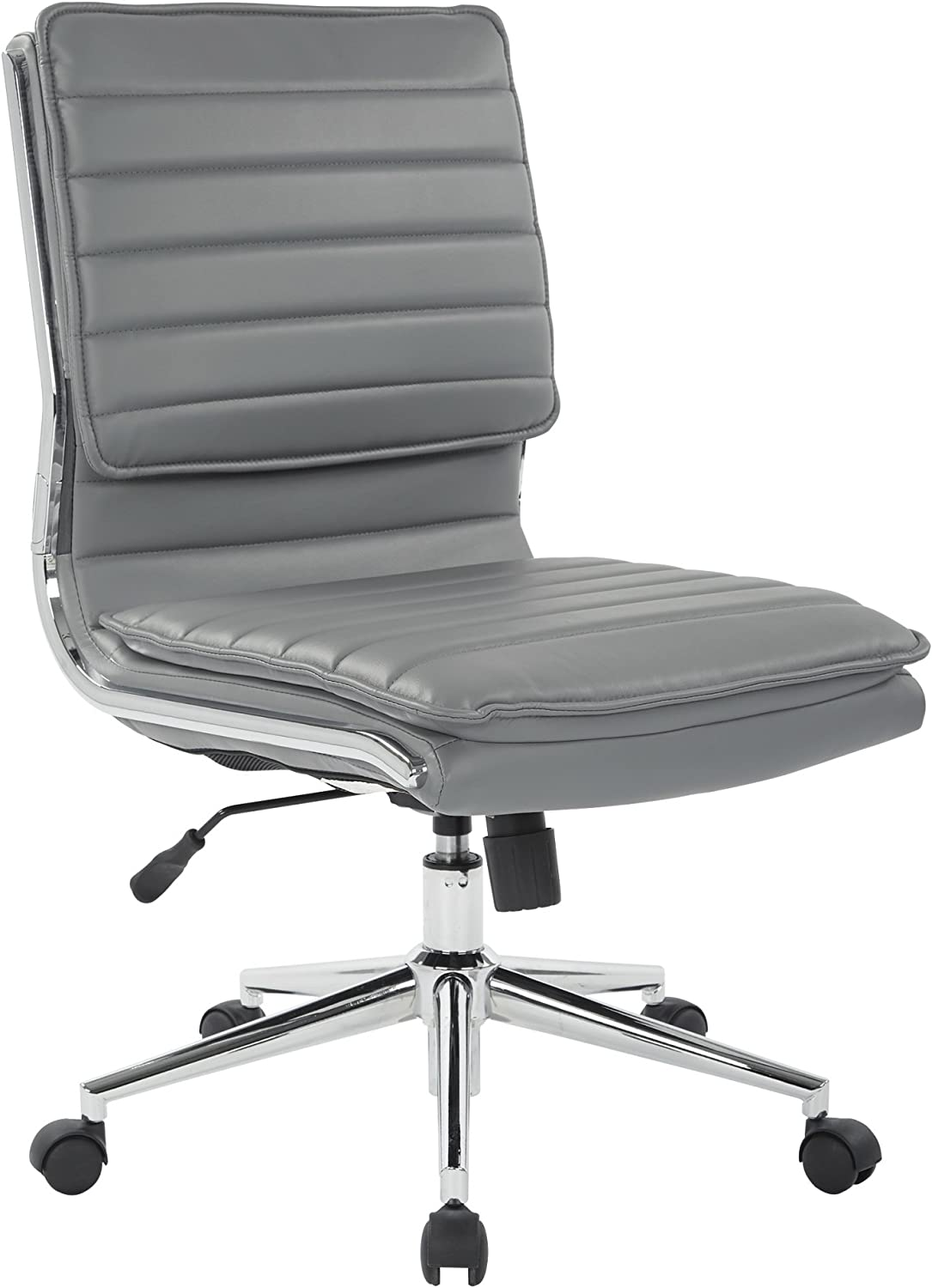 Office Star Faux Leather Armless Mid Back Managers Chair with Chrome Base, Charcoal