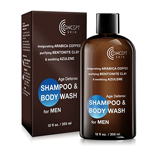 Caffeine Shampoo Body Wash Combo for MEN, Green Coffee, Bentonite Clay, Azulene, Sensitive Skin, Anti Itch, Calming- Preventative Hairloss Shampoo & Body Wash Natural, Paraben & Sulfate Free 12 oz