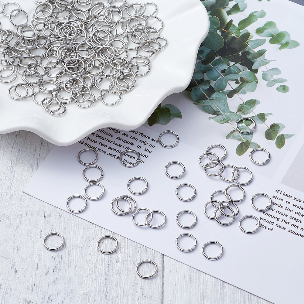 Assorted Stainless Steel Open Jump Rings 1mm Thick for DIY Jewelry Chainmail Making About 1300pcs Kissitty 1 Box 4-10mm Dia