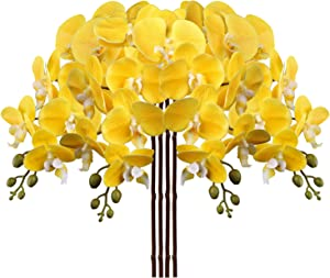 4 Pcs Artificial Orchid Flowers 9 Large Heads of Real Touch Vivid Phalaenopsis Orchid Flower Stem 36'' Tall, Artificial Flowers Branches for Home Decor, Office House Decoration-Yellow Phalaenopsis