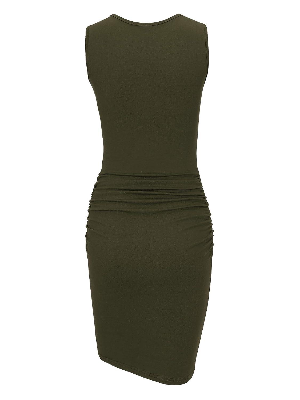 518fc1fa8b9 Missufe Women s Casual Ruched Bodycon Sundress Irregular Sheath T Shirt  Dress at Amazon Women s Clothing store