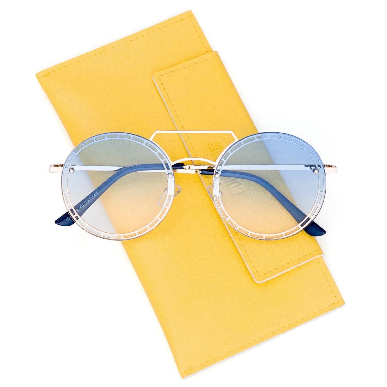 3570f3acb9 Amazon.com  Mosanana Circle Hippie Sunglasses for Women Blue Gradient Lens  Tinted John Lennon Hipster Cute Circular Round Retro Vintage Metal Old  School 90s ...