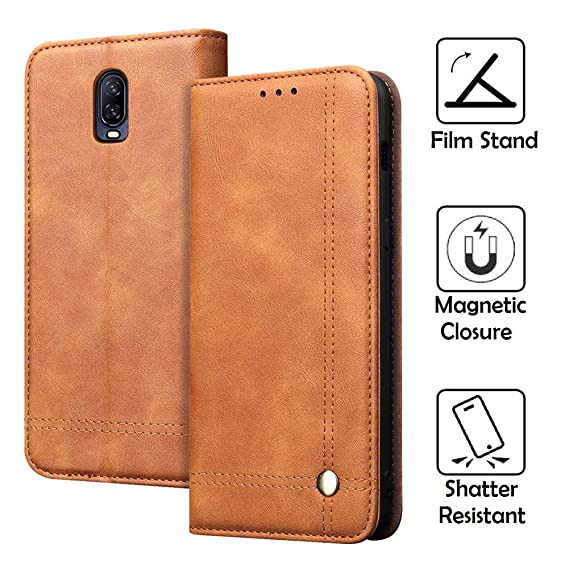 REAL-EAGLE OnePlus 6T Case, Oneplus 6T Wallet Case,OnePlus 6T Premium PU  Leather Wallet Protection Case with [Kickstand] [Card Slots] [Magnetic