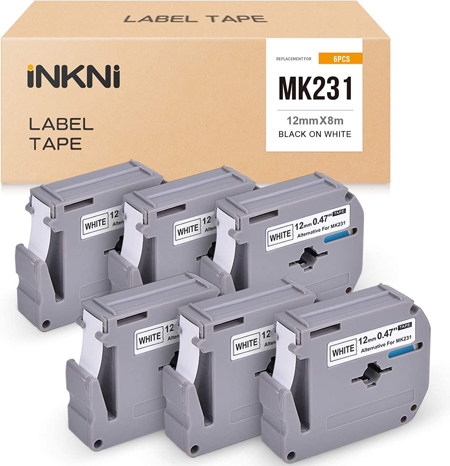 INKNI Compatible Label Tape Replacement for Brother M Tape MK231 M231 M-K231 use with Brother P Touch Label Maker PT-M95 PT-90 PT70 PT-65 PT-85, 0.47 Inch x 26.2 Feet, Black on White, 6-Pack