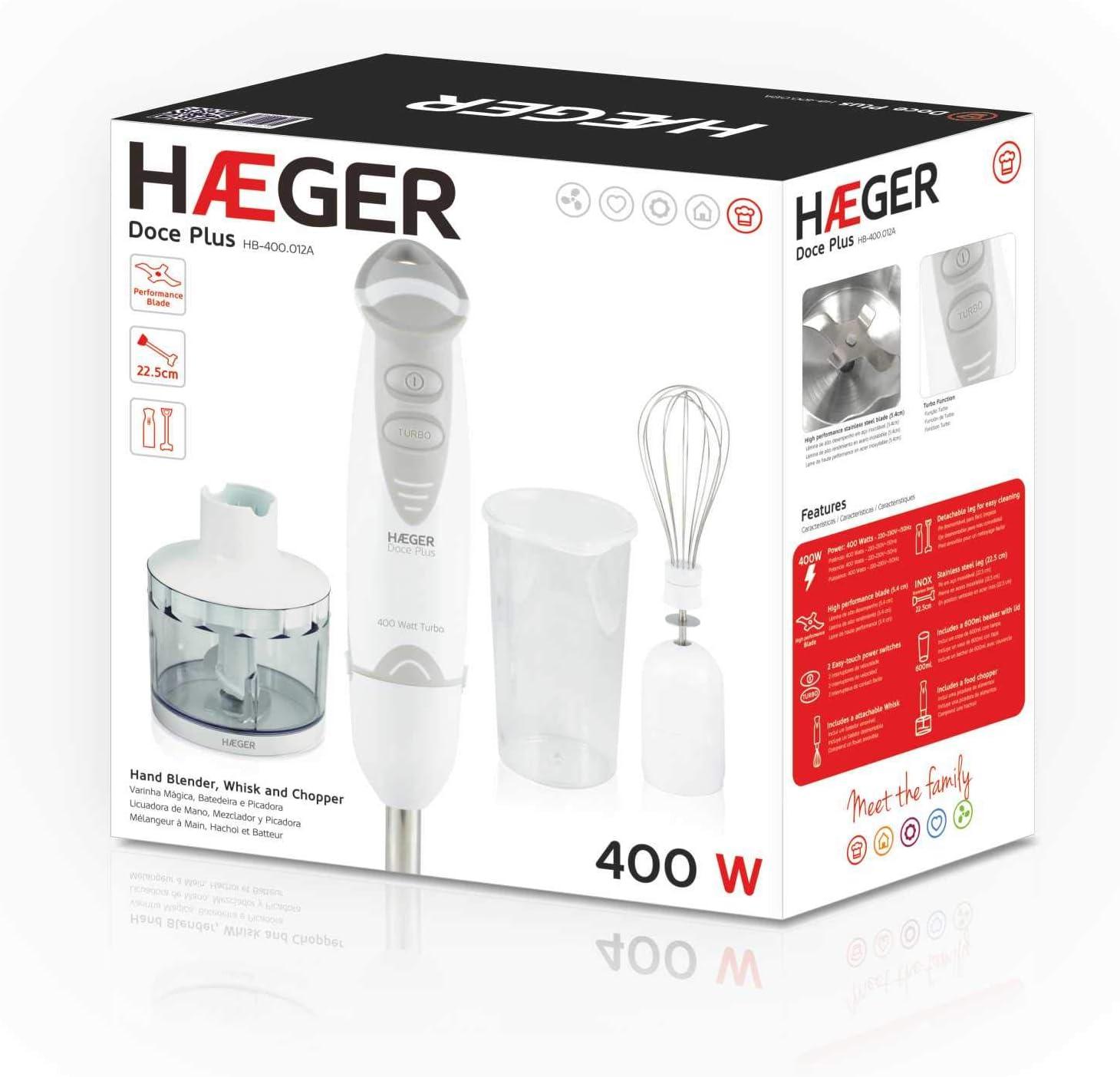 HAEGER DOCE PLUS -Conjunto Batidora de Mano DOCE 400W, Vaso de ...