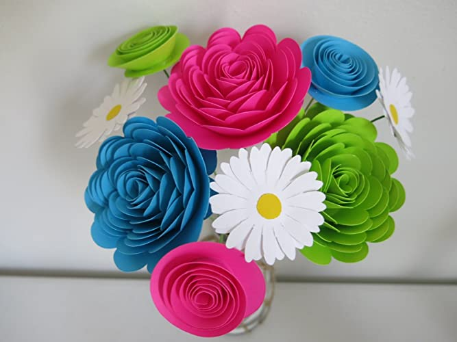 Amazon.com: Bright Paper Flower Bouquet, Modern Roses and Daisies ...