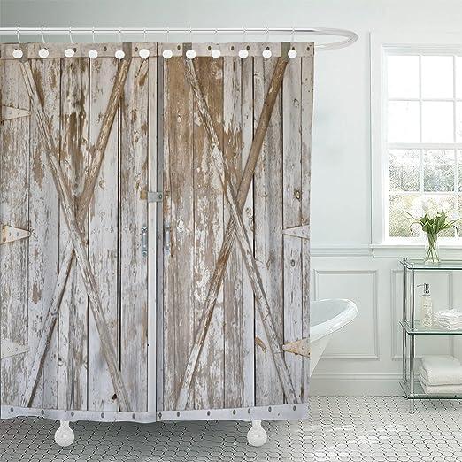 Set of 12 Distressed Metal Design Barn Star Shower Hooks with Vintage