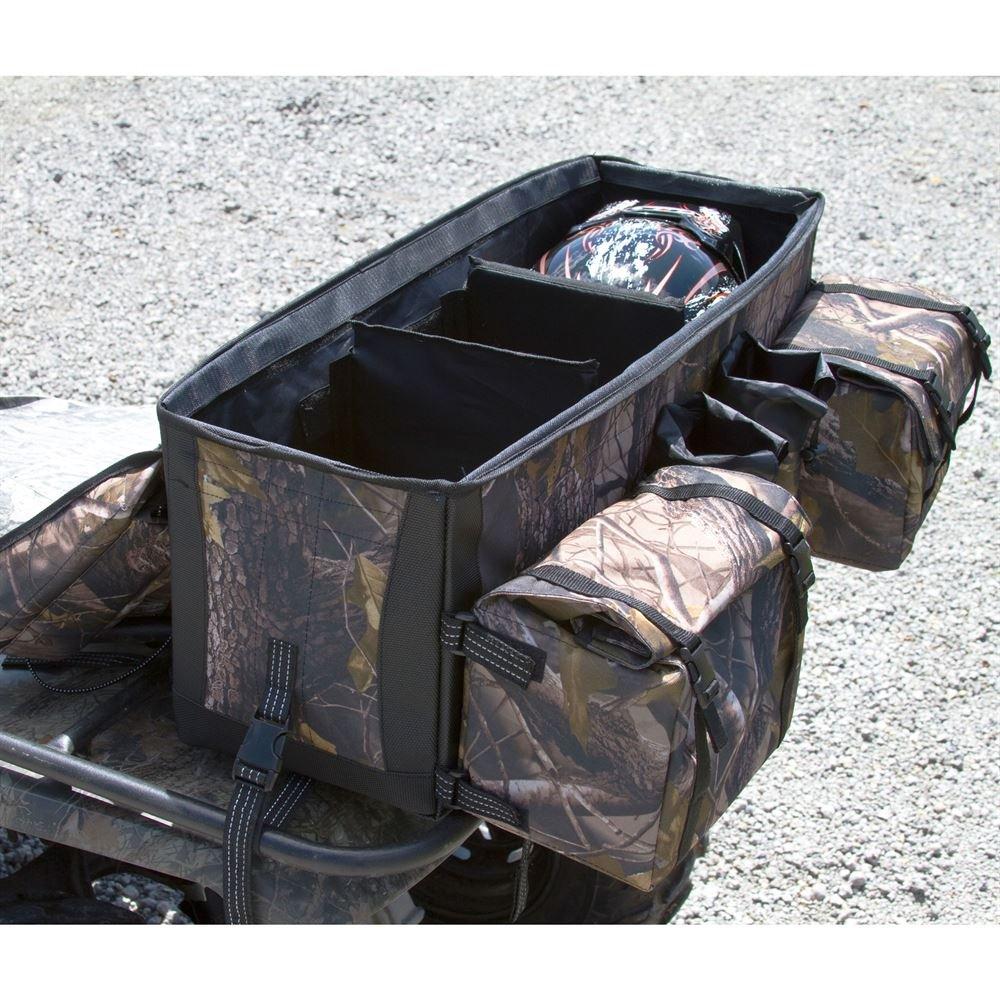 Rage Powersports Black ATV Cargo Rear Rack Gear Bag with Topside Bungee Tie-Down Storage