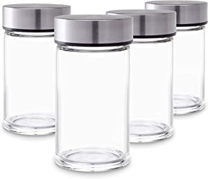 Juice Bottles - 4 Pack Wide Mouth Glass Bottles with Lids - for Juicing, Smoothies, Infused Water, Beverage Storage - 10oz, BPA Free, Stainless Steel Lids, Leakproof, Reusable, Borosilicate