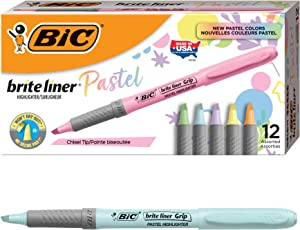 BIC Brite Liner Grip Pastel Highlighters, Assorted Ink Colors, Chisel Tip - Box of 12 Assorted Pastel Highlighters