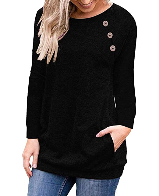 85c13ebc86d Vaise Womens Long Sleeve Shirt Casual Sweatshirt Tops Button Tunic Shirt  with Pockets (S