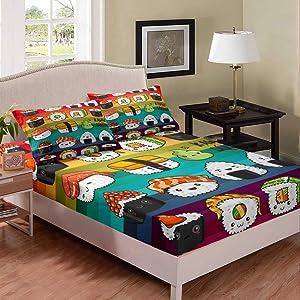 Erosebridal Kids Sushi Fitted Sheet Deep Pocket Full Size, Japanese-Style Food Bedding Set, Geometric Stripes Bed Sheet for Boys Girls Teens, Cute Cartoon Style Bed Set Dorm Room Decoration