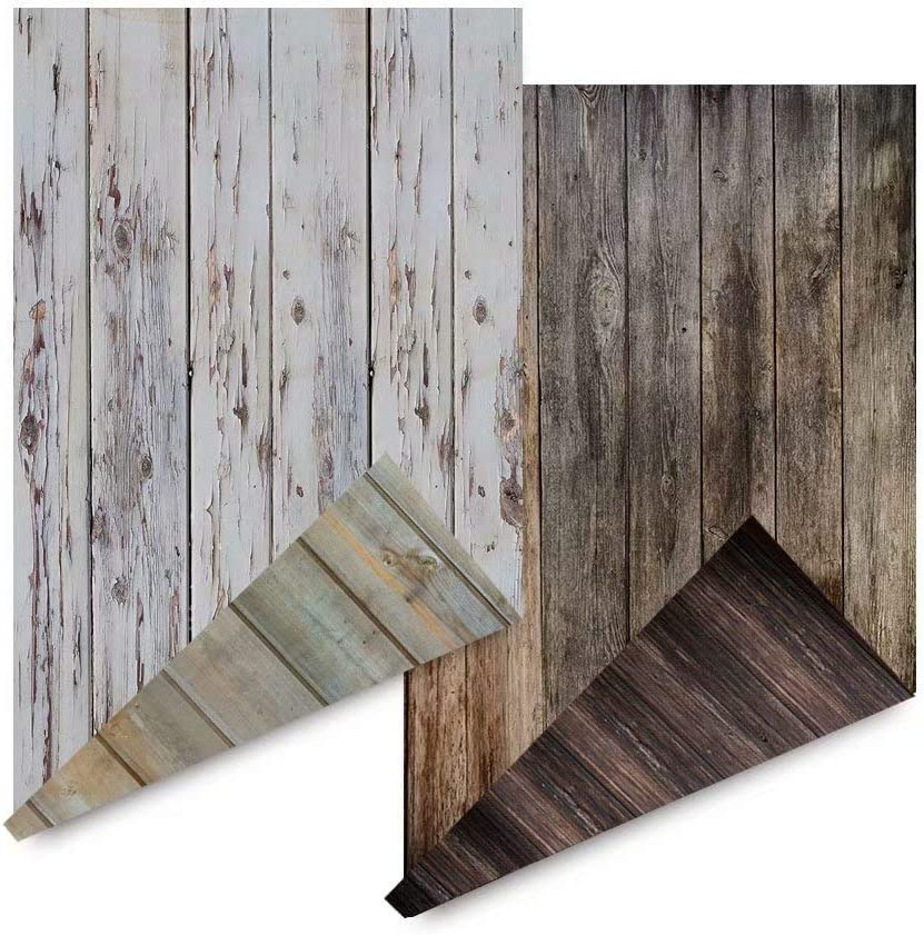 2-Pack 4 Patterns Photography Background Jewelry Food Shop Products Photo Sewing Projects Photoshoot Backdrop Rustic Wood Grain Retro Shabby Chic Board Flooring Video displaying flatlay Background