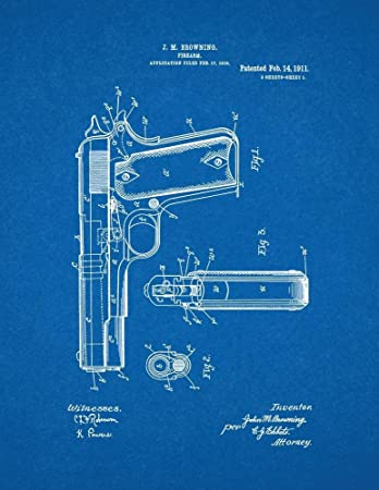 Amazon colt 1911 gun patent print art poster blueprint 13 x colt 1911 gun patent print art poster blueprint 13quot malvernweather Gallery