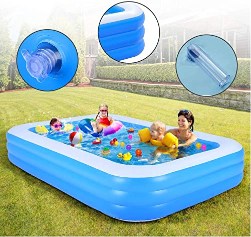 WDERNI Inflatable Swimming Pool, 120 x72 x22 Full-Sized Blow Up Pool for Adults, Family Swimming Pool, Swim Center for Kids, Babies, Toddlers, Outdoor, Garden, Backyard