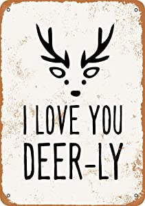 Vintage Retro I Love You Deerly Home Bar Pub Kitchen Restaurant Wall Deocr Plaque Signs 16x12inch