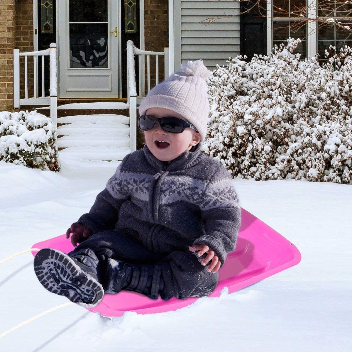 """Gymax Snow Sled for Kids Children 35/"""" Toboggan Boat Sledge Portable Rolling Snow Slider with 2 Handles and Pull Rope"""