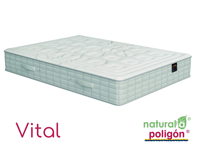 Poligón - Colchón vital visco - muelles tecnosac, talla 135x190cm, color blanco / gris: Amazon.es: Hogar