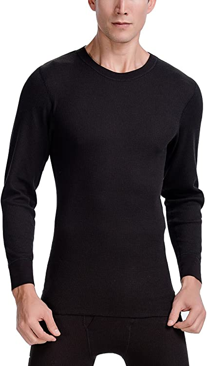 Mens Long Sleeve Thermal Crew Knit Shirt XL Black