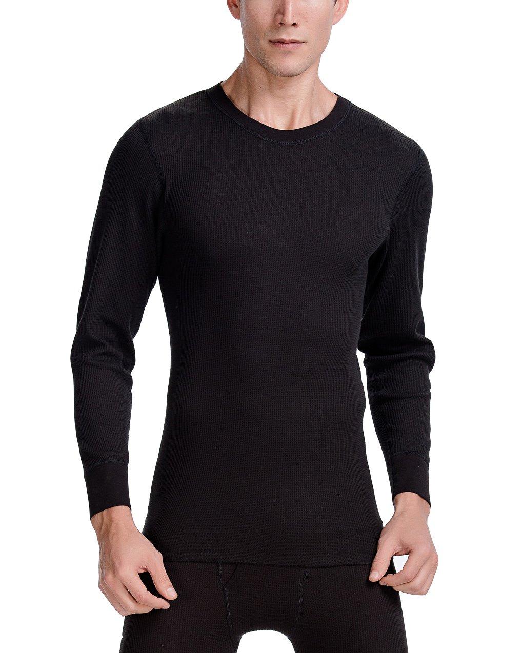 CYZ Collection CYZ Men's Thermal Long Sleeve Crew Top-Black-2XL