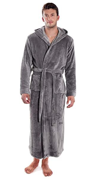 colours and striking hot new products select for best Verabella Women Men's Long Plush Fleece Robe with Hood, Solid Color Bathrobe