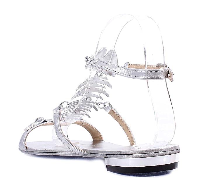06ea6fa101052 Amazon.com | New Adjustable Strap Buckle Fish Bone Rhinestone Design Stlish  Women Sandals Casual Shoes | Sandals