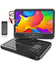 """WONNIE 2019-Upgrade 10.5"""" Tragbarer DVD-Player, Schwenkbaren Bildschirm, HD Display 4-5 Stunden Akku, USB/SD Slot, Kinder (Schwarz)"""