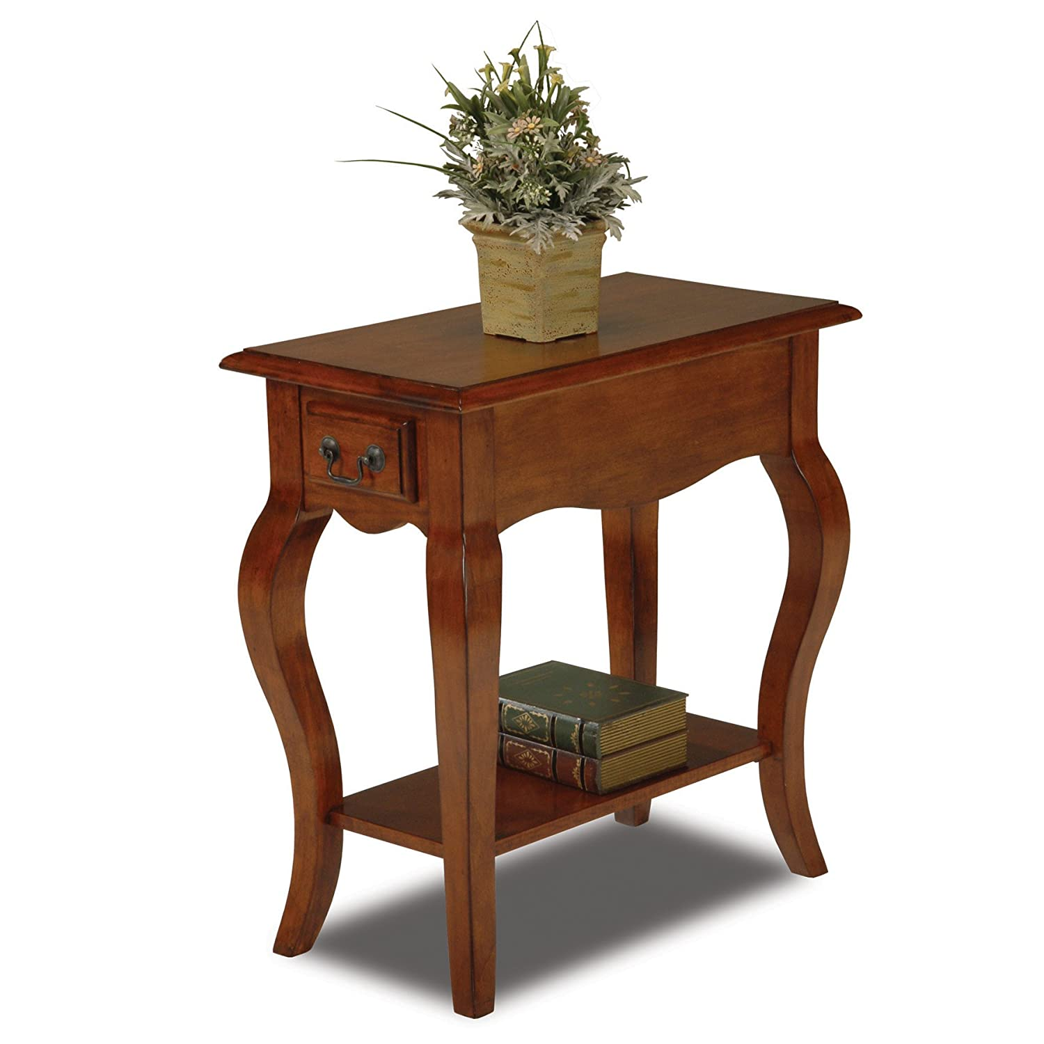 Amazon.com: Leick Chair Side End Table, Brown Cherry Finish: Kitchen U0026  Dining