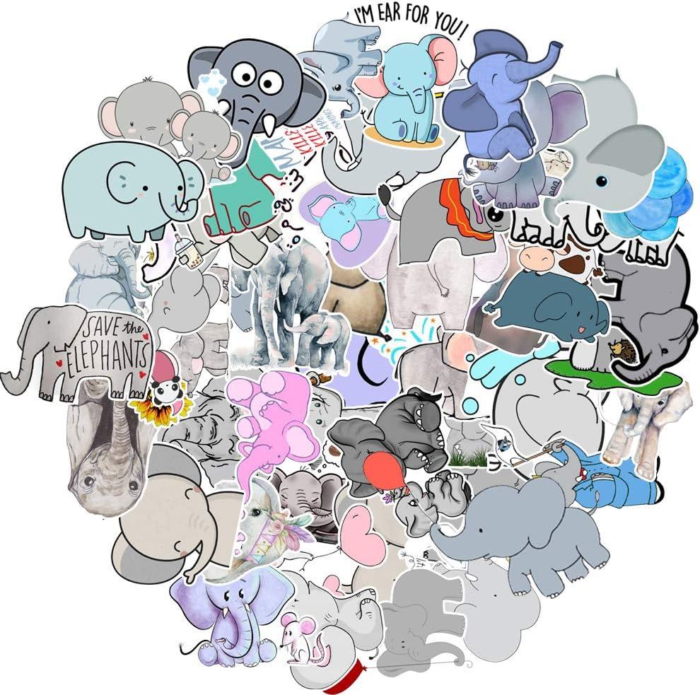 50 Pcs Vinyl Elephant Stickers Waterproof Elephant Sticker Pack for Water Bottle Hydro Flask Laptop Skateboard Luggage Bike Car
