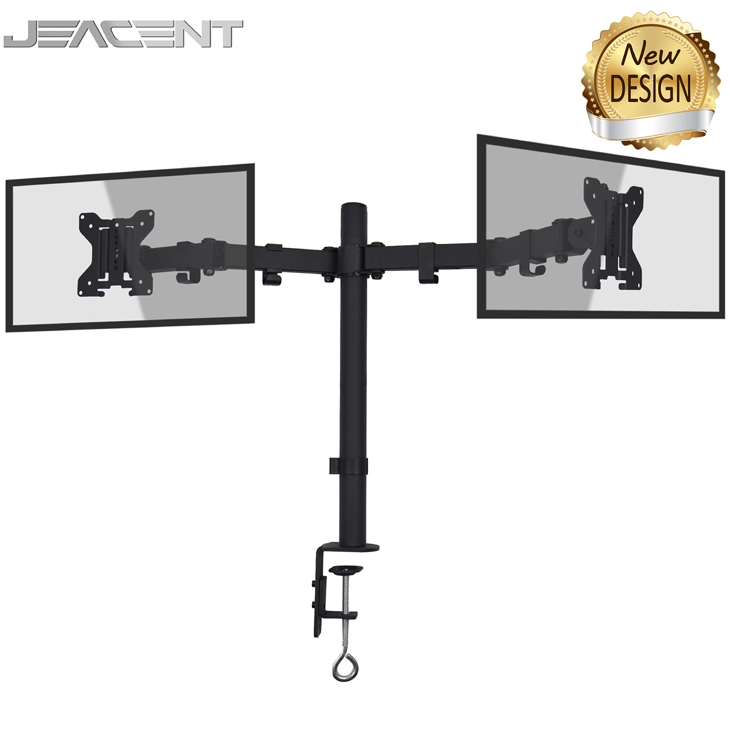 "Jeacent Dual Monitor Desk Mount Stand LCD Computer Fully Adjustable Arm 13"" to 27'', 22 lbs"