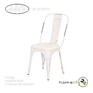 Hervorragend Metallstuhl Vintage Shabby Chic 4er Set Design Stuhl Retro Bistrostühle Für  Ihre Vintage Einrichtung In Ihrer
