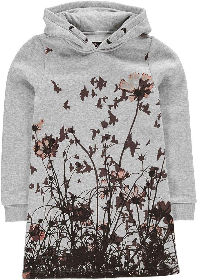 Girls Branded Firetrap Long Sleeves Kangaroo Floral Hoodie Dress Age 4-13 Yrs