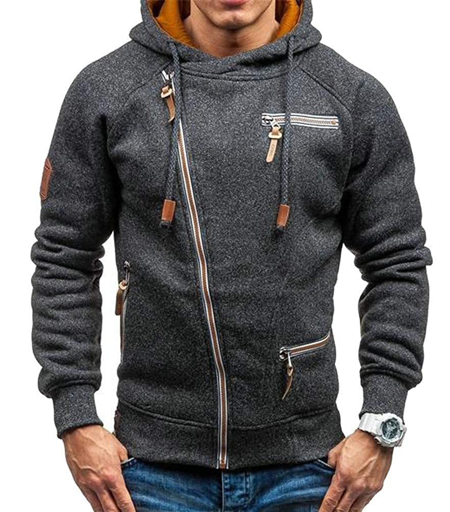 Joe Wenko Men Casual Burnout Drawstring Oblique Zipper Pocket Hooded Sweatshirts